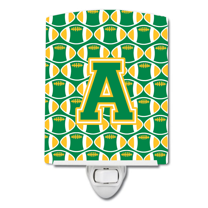 Buy this Letter A Football Green and Gold Ceramic Night Light CJ1069-ACNL