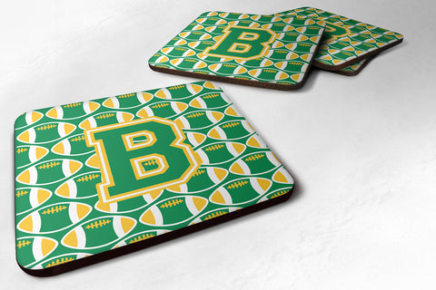 Buy this Letter B Football Green and Gold Foam Coaster Set of 4 CJ1069-BFC