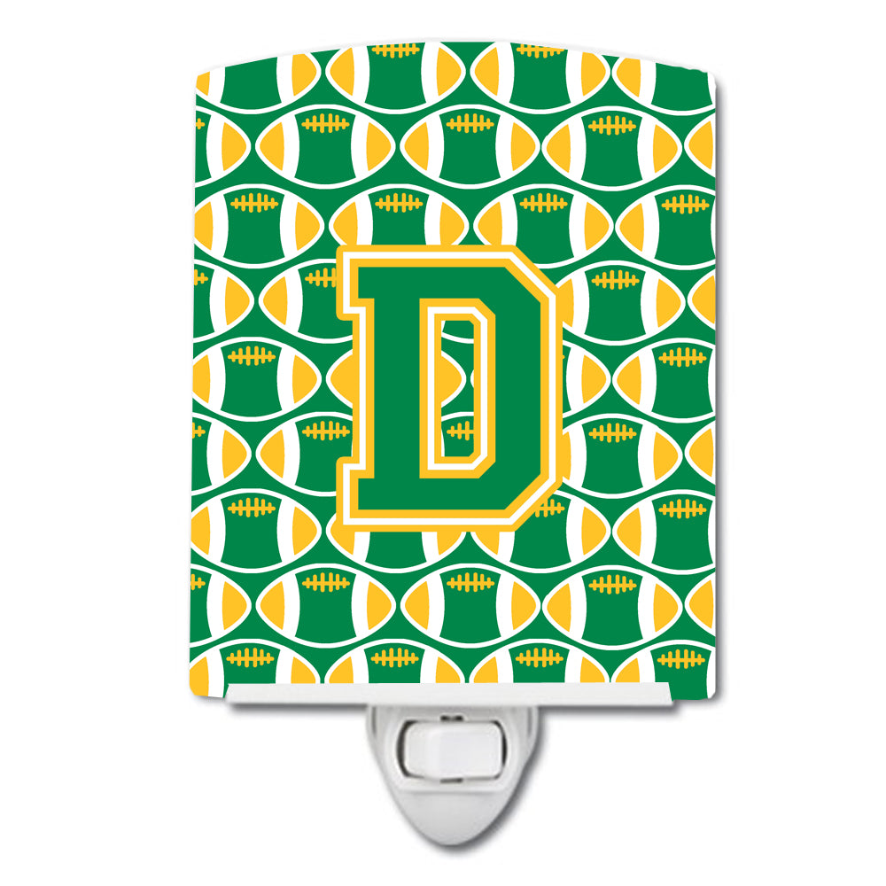 Letter D Football Green and Gold Ceramic Night Light CJ1069-DCNL by Caroline's Treasures