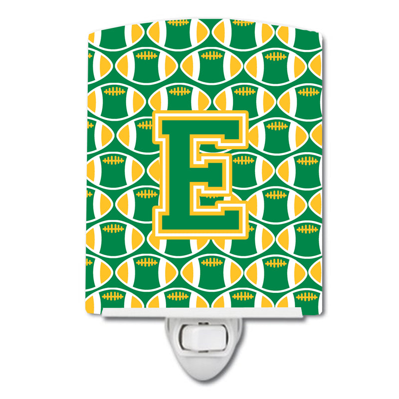 Buy this Letter E Football Green and Gold Ceramic Night Light CJ1069-ECNL