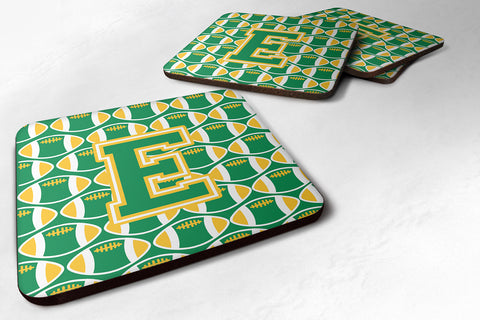Buy this Letter E Football Green and Gold Foam Coaster Set of 4 CJ1069-EFC