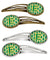 Buy this Letter E Football Green and Gold Set of 4 Barrettes Hair Clips CJ1069-EHCS4