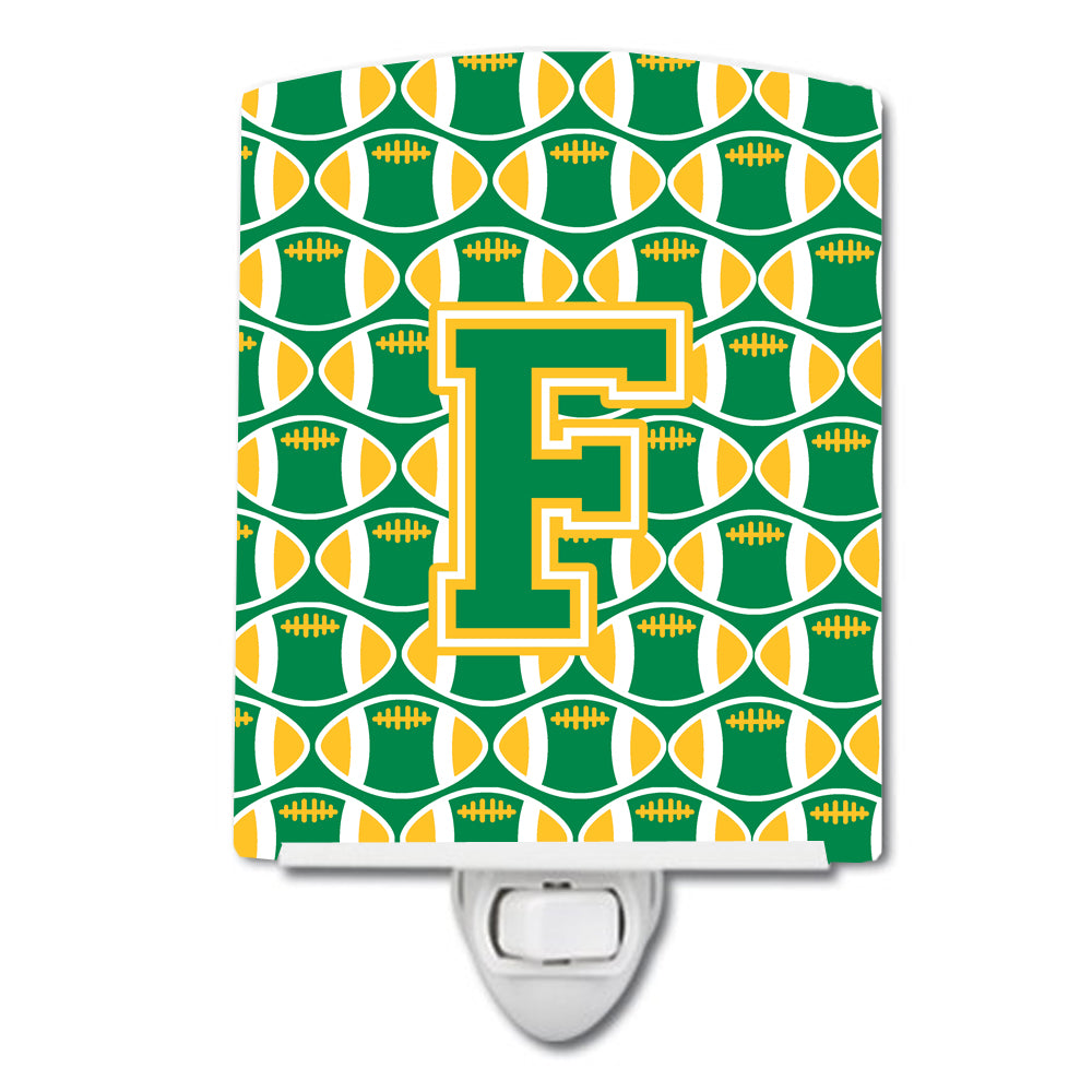 Buy this Letter F Football Green and Gold Ceramic Night Light CJ1069-FCNL
