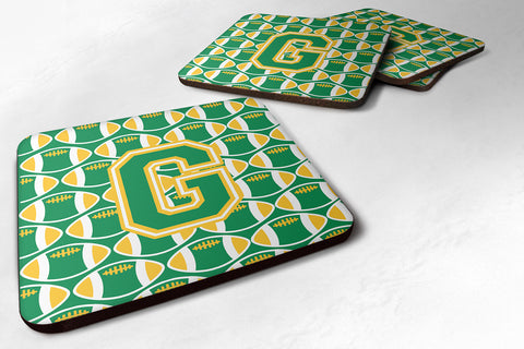 Buy this Letter G Football Green and Gold Foam Coaster Set of 4 CJ1069-GFC