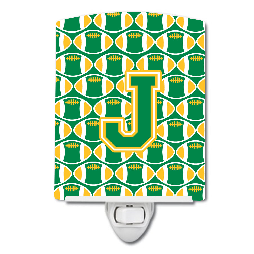 Letter J Football Green and Gold Ceramic Night Light CJ1069-JCNL by Caroline's Treasures