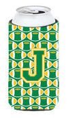 Letter J Football Green and Gold Tall Boy Beverage Insulator Hugger CJ1069-JTBC by Caroline's Treasures