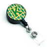 Letter K Football Green and Gold Retractable Badge Reel CJ1069-KBR by Caroline's Treasures