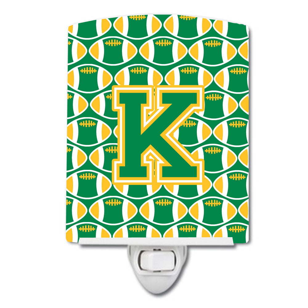 Buy this Letter K Football Green and Gold Ceramic Night Light CJ1069-KCNL