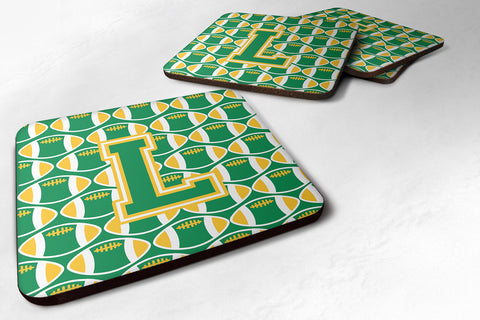 Buy this Letter L Football Green and Gold Foam Coaster Set of 4 CJ1069-LFC