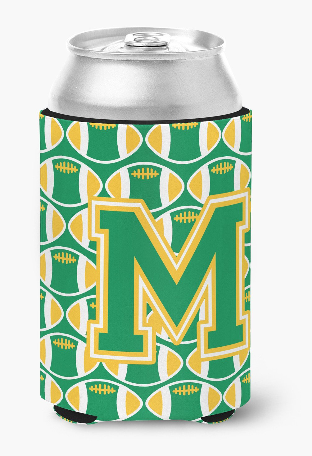 Letter M Football Green and Gold Can or Bottle Hugger CJ1069-MCC by Caroline's Treasures