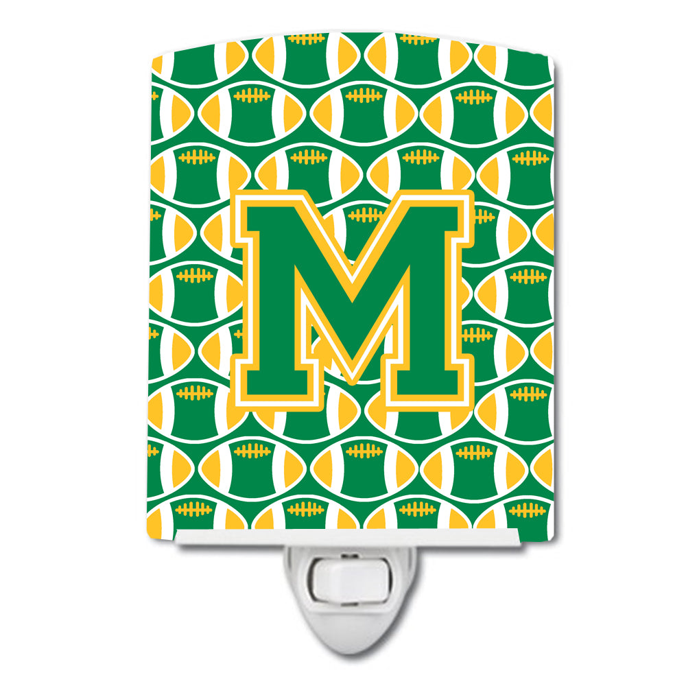 Letter M Football Green and Gold Ceramic Night Light CJ1069-MCNL by Caroline's Treasures