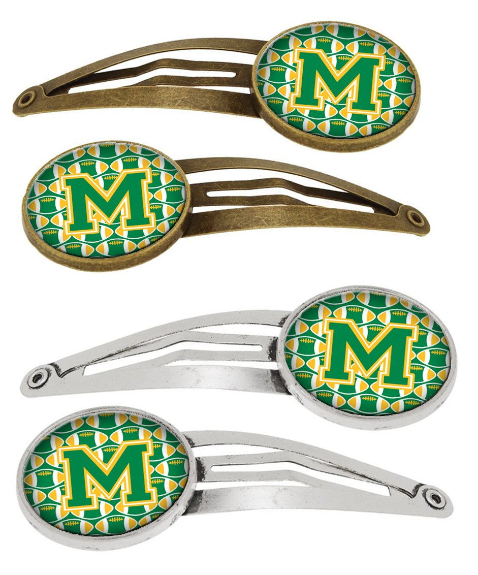 Letter M Football Green and Gold Set of 4 Barrettes Hair Clips CJ1069-MHCS4 by Caroline's Treasures
