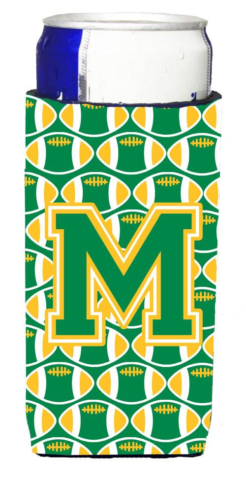 Letter M Football Green and Gold Ultra Beverage Insulators for slim cans CJ1069-MMUK by Caroline's Treasures