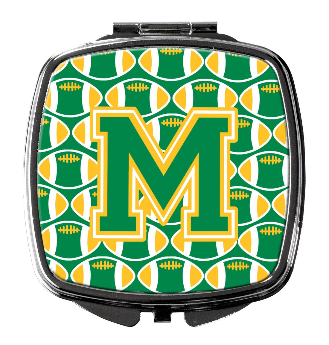 Letter M Football Green and Gold Compact Mirror CJ1069-MSCM by Caroline's Treasures