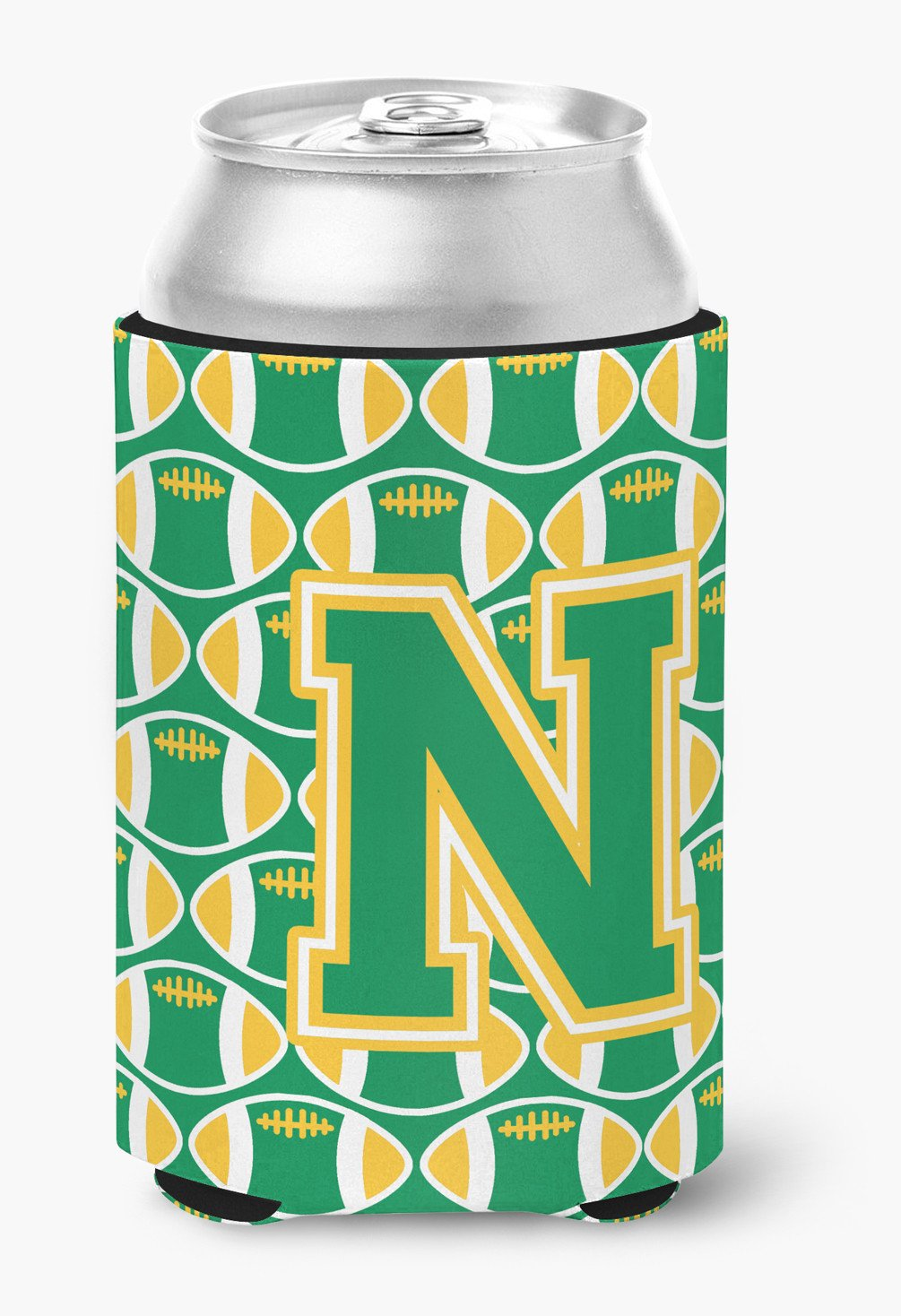 Letter N Football Green and Gold Can or Bottle Hugger CJ1069-NCC by Caroline's Treasures