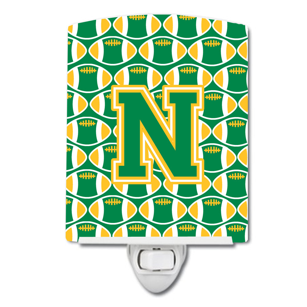Buy this Letter N Football Green and Gold Ceramic Night Light CJ1069-NCNL