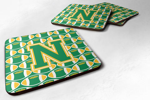 Buy this Letter N Football Green and Gold Foam Coaster Set of 4 CJ1069-NFC