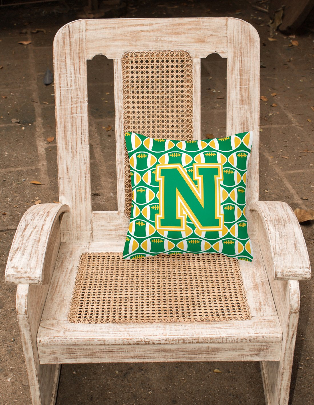 Letter N Football Green and Gold Fabric Decorative Pillow CJ1069-NPW1414 by Caroline's Treasures