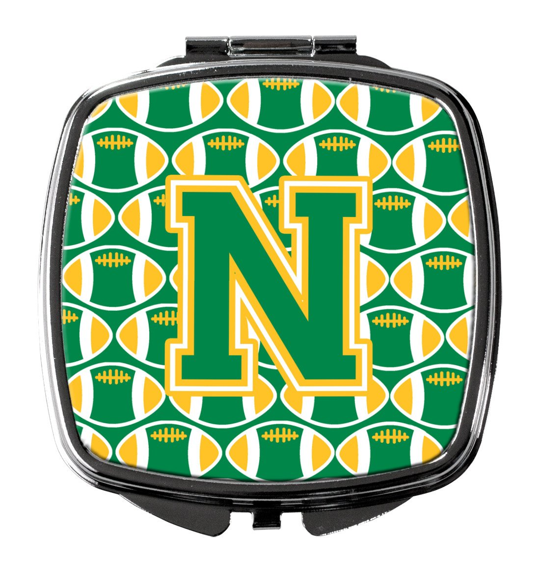 Letter N Football Green and Gold Compact Mirror CJ1069-NSCM by Caroline's Treasures