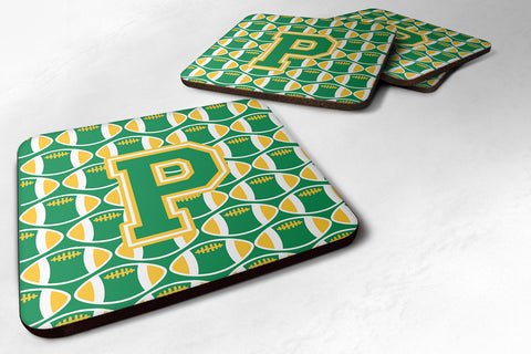 Buy this Letter P Football Green and Gold Foam Coaster Set of 4 CJ1069-PFC