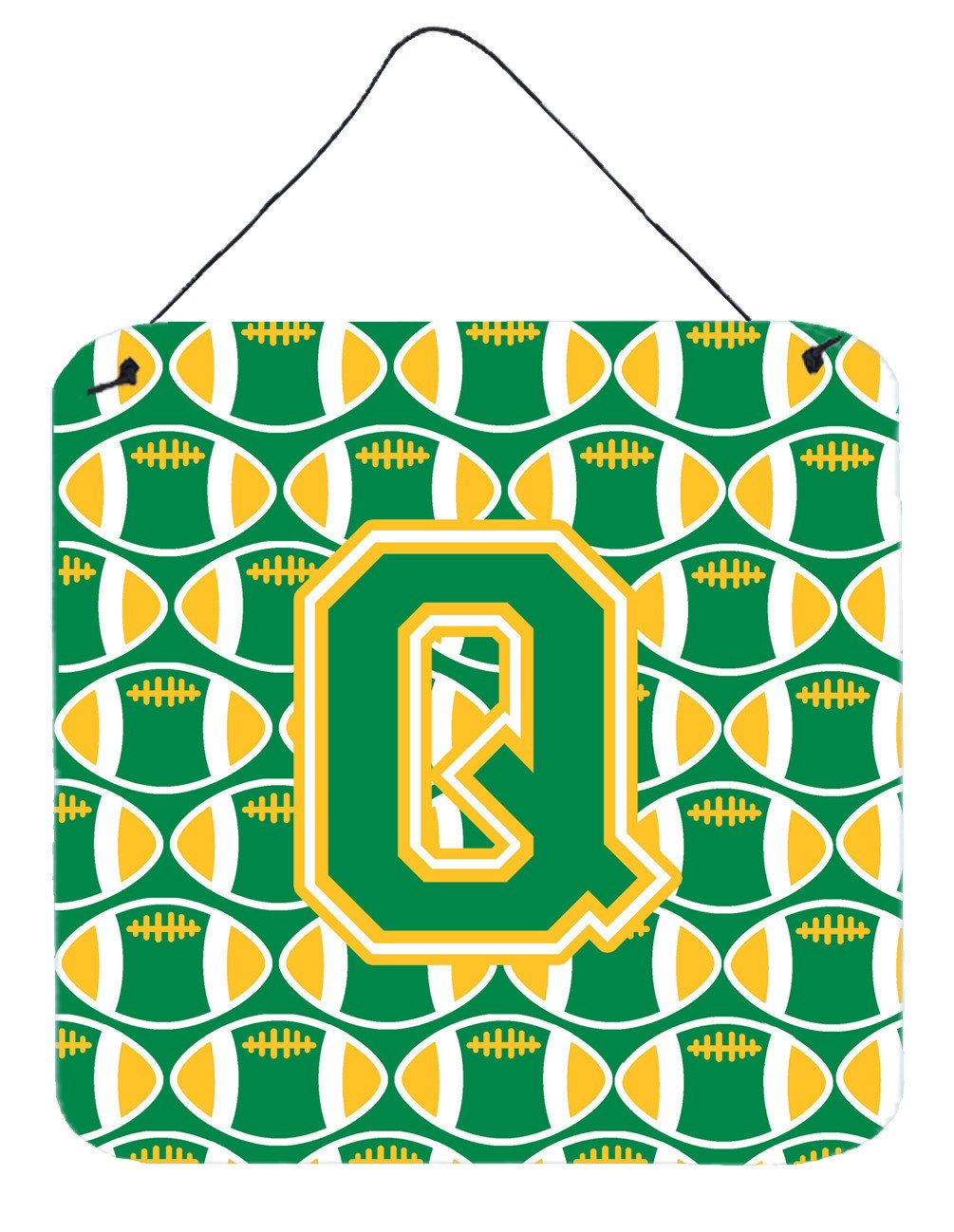 Letter Q Football Green and Gold Wall or Door Hanging Prints CJ1069-QDS66 by Caroline's Treasures