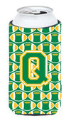 Letter Q Football Green and Gold Tall Boy Beverage Insulator Hugger CJ1069-QTBC by Caroline's Treasures
