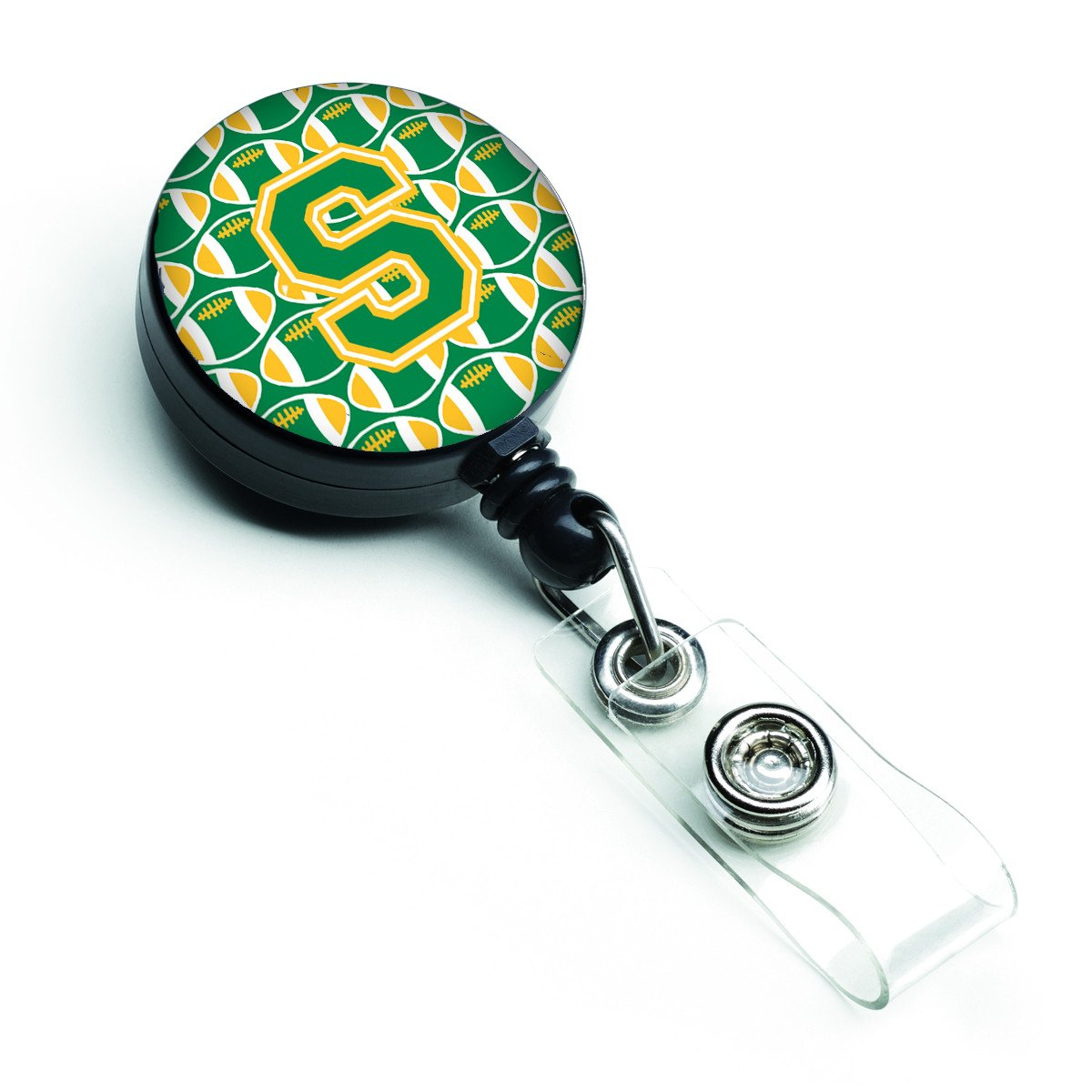 Letter S Football Green and Gold Retractable Badge Reel CJ1069-SBR by Caroline's Treasures