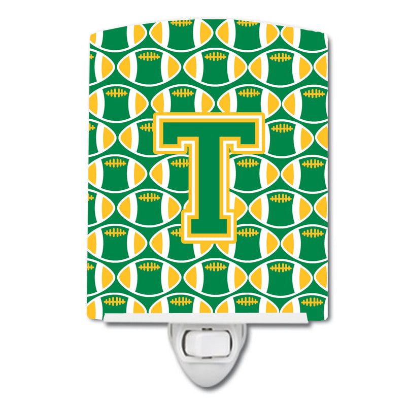 Buy this Letter T Football Green and Gold Ceramic Night Light CJ1069-TCNL