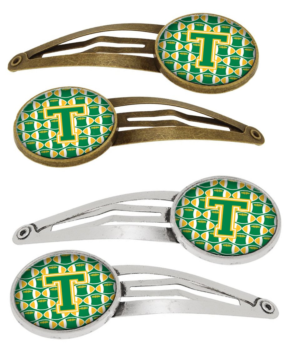 Letter T Football Green and Gold Set of 4 Barrettes Hair Clips CJ1069-THCS4 by Caroline's Treasures