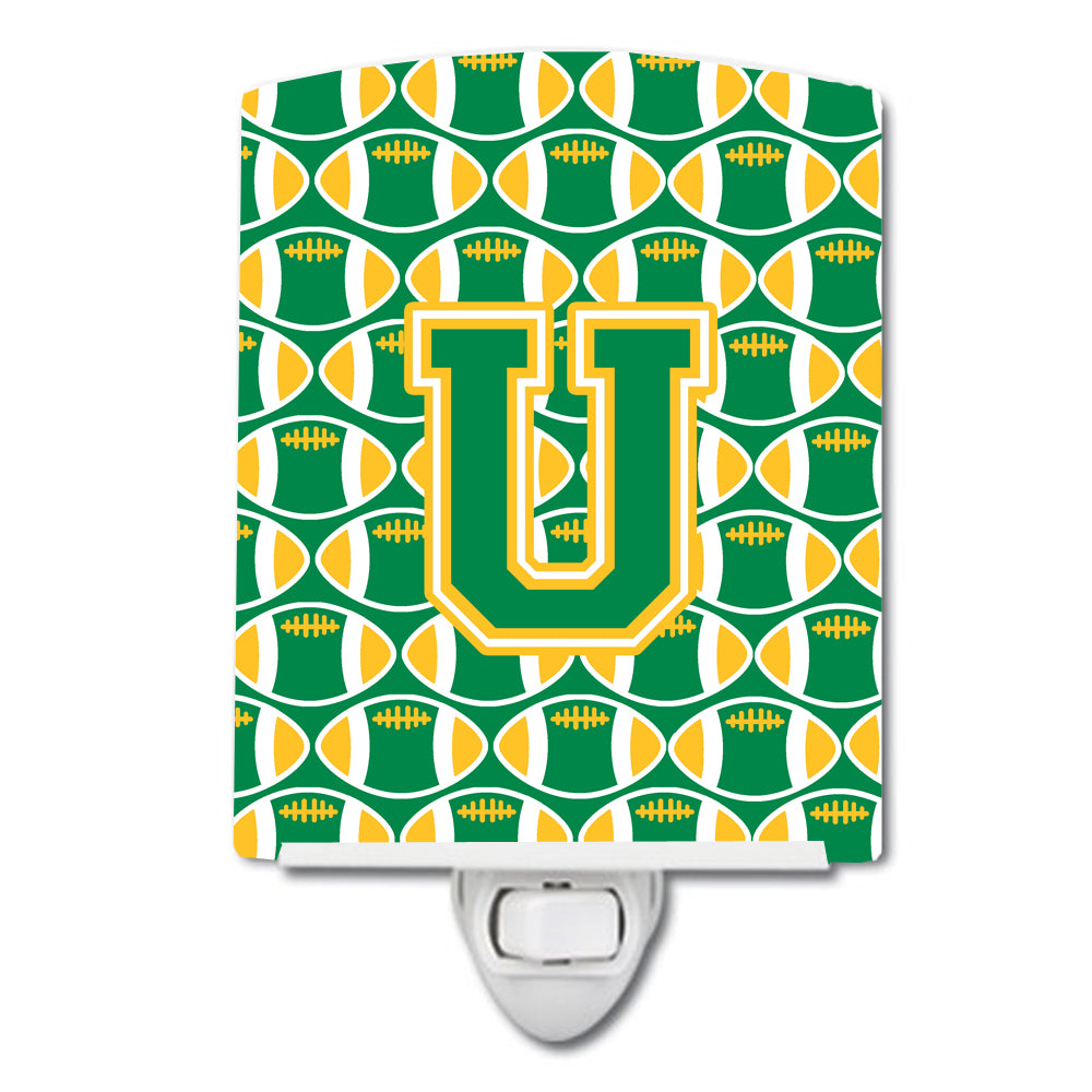 Buy this Letter U Football Green and Gold Ceramic Night Light CJ1069-UCNL