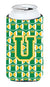 Buy this Letter U Football Green and Gold Tall Boy Beverage Insulator Hugger CJ1069-UTBC