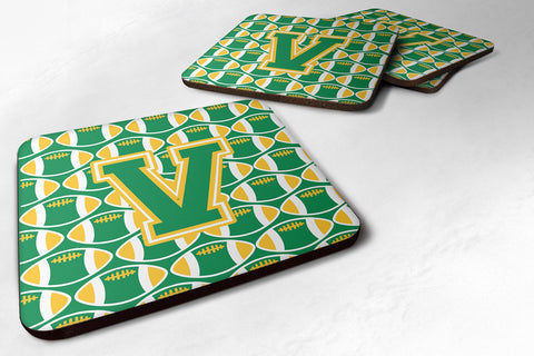 Buy this Letter V Football Green and Gold Foam Coaster Set of 4 CJ1069-VFC