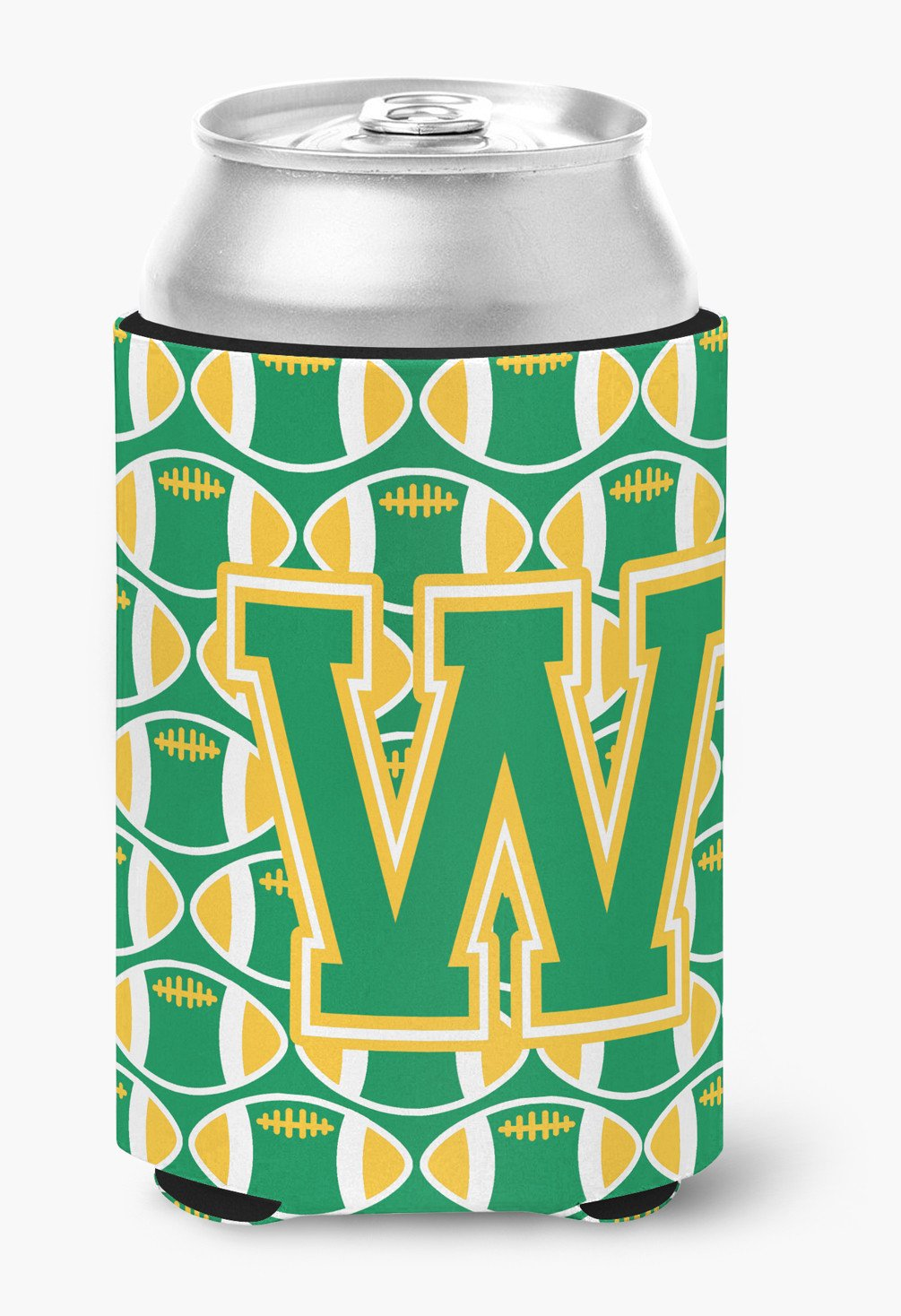 Buy this Letter W Football Green and Gold Can or Bottle Hugger CJ1069-WCC