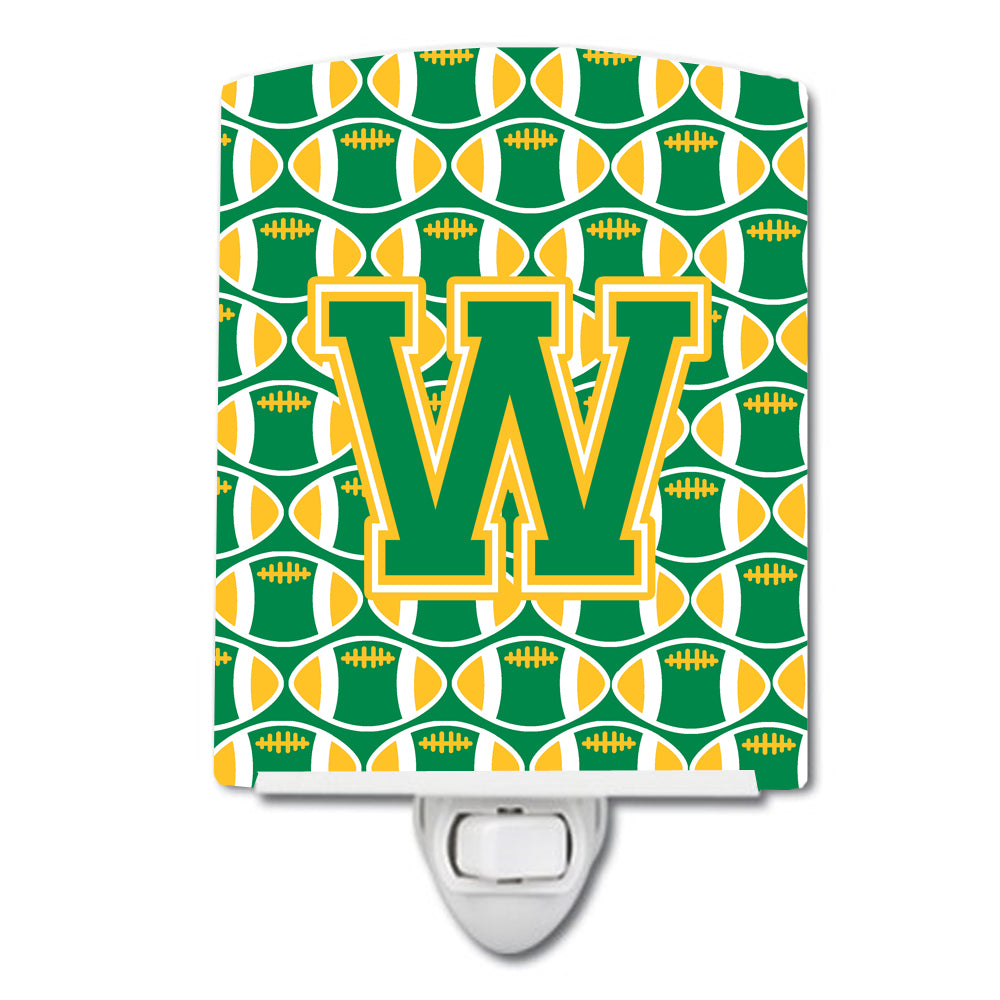 Letter W Football Green and Gold Ceramic Night Light CJ1069-WCNL by Caroline's Treasures