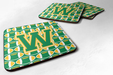 Buy this Letter W Football Green and Gold Foam Coaster Set of 4 CJ1069-WFC