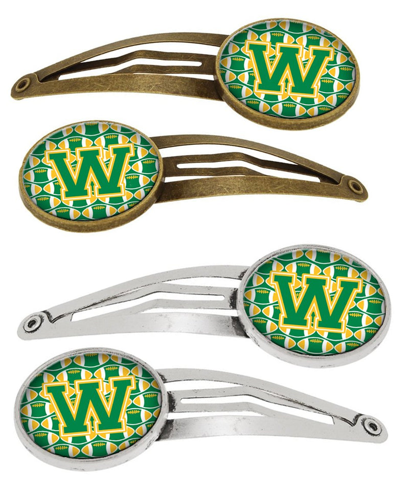 Buy this Letter W Football Green and Gold Set of 4 Barrettes Hair Clips CJ1069-WHCS4
