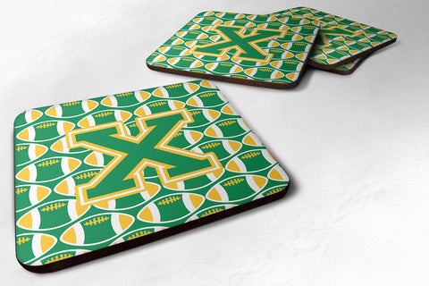 Buy this Letter X Football Green and Gold Foam Coaster Set of 4 CJ1069-XFC