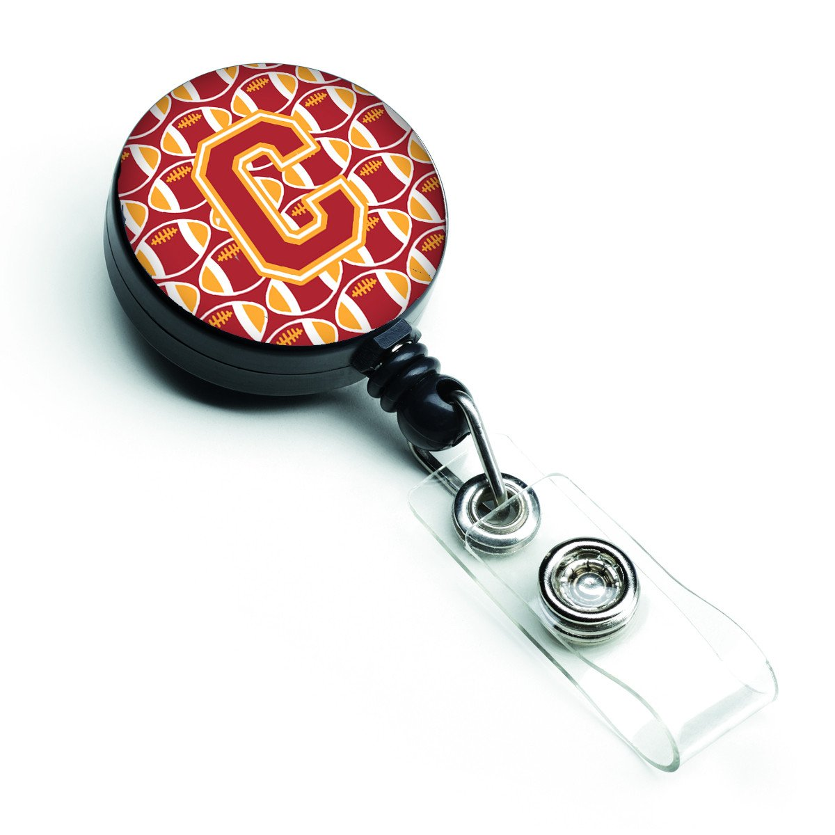 Letter C Football Cardinal and Gold Retractable Badge Reel CJ1070-CBR by Caroline's Treasures