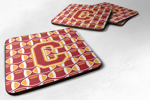 Buy this Letter C Football Cardinal and Gold Foam Coaster Set of 4 CJ1070-CFC