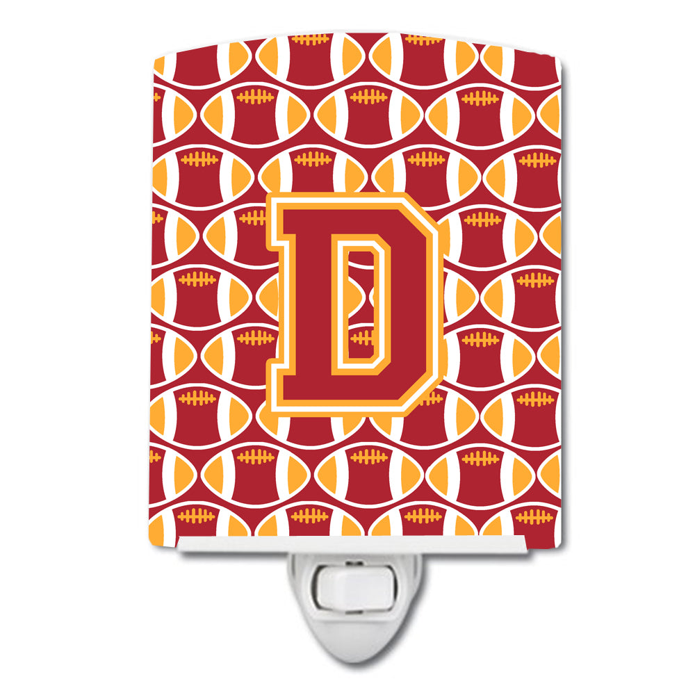Letter D Football Cardinal and Gold Ceramic Night Light CJ1070-DCNL by Caroline's Treasures
