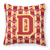 Letter D Football Cardinal and Gold Fabric Decorative Pillow CJ1070-DPW1414 by Caroline's Treasures