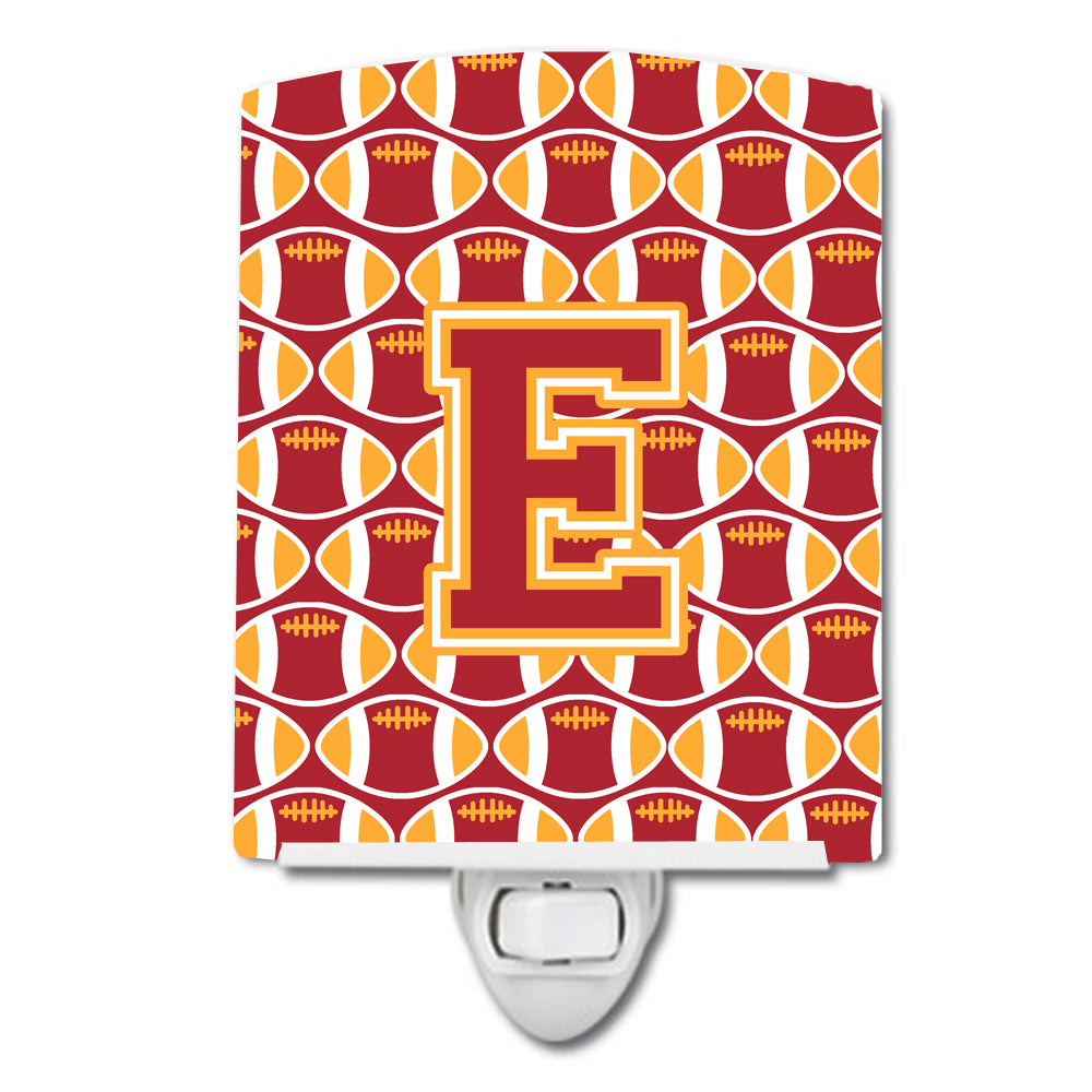 Buy this Letter E Football Cardinal and Gold Ceramic Night Light CJ1070-ECNL