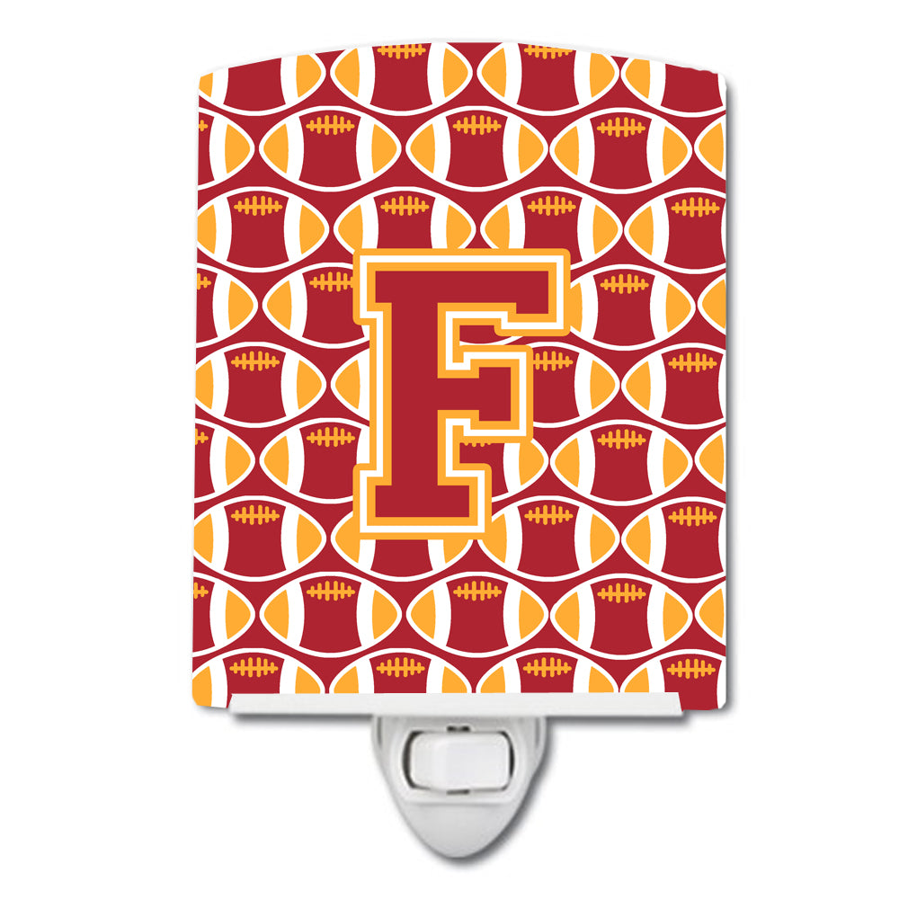 Buy this Letter F Football Cardinal and Gold Ceramic Night Light CJ1070-FCNL