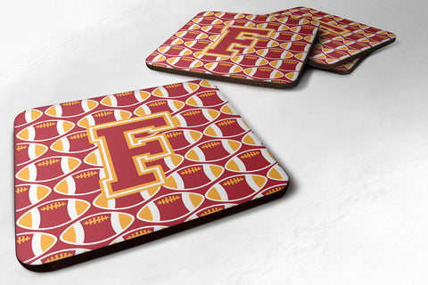 Buy this Letter F Football Cardinal and Gold Foam Coaster Set of 4 CJ1070-FFC