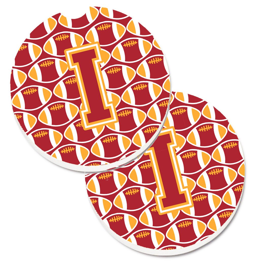 Letter I Football Cardinal and Gold Set of 2 Cup Holder Car Coasters CJ1070-ICARC by Caroline's Treasures