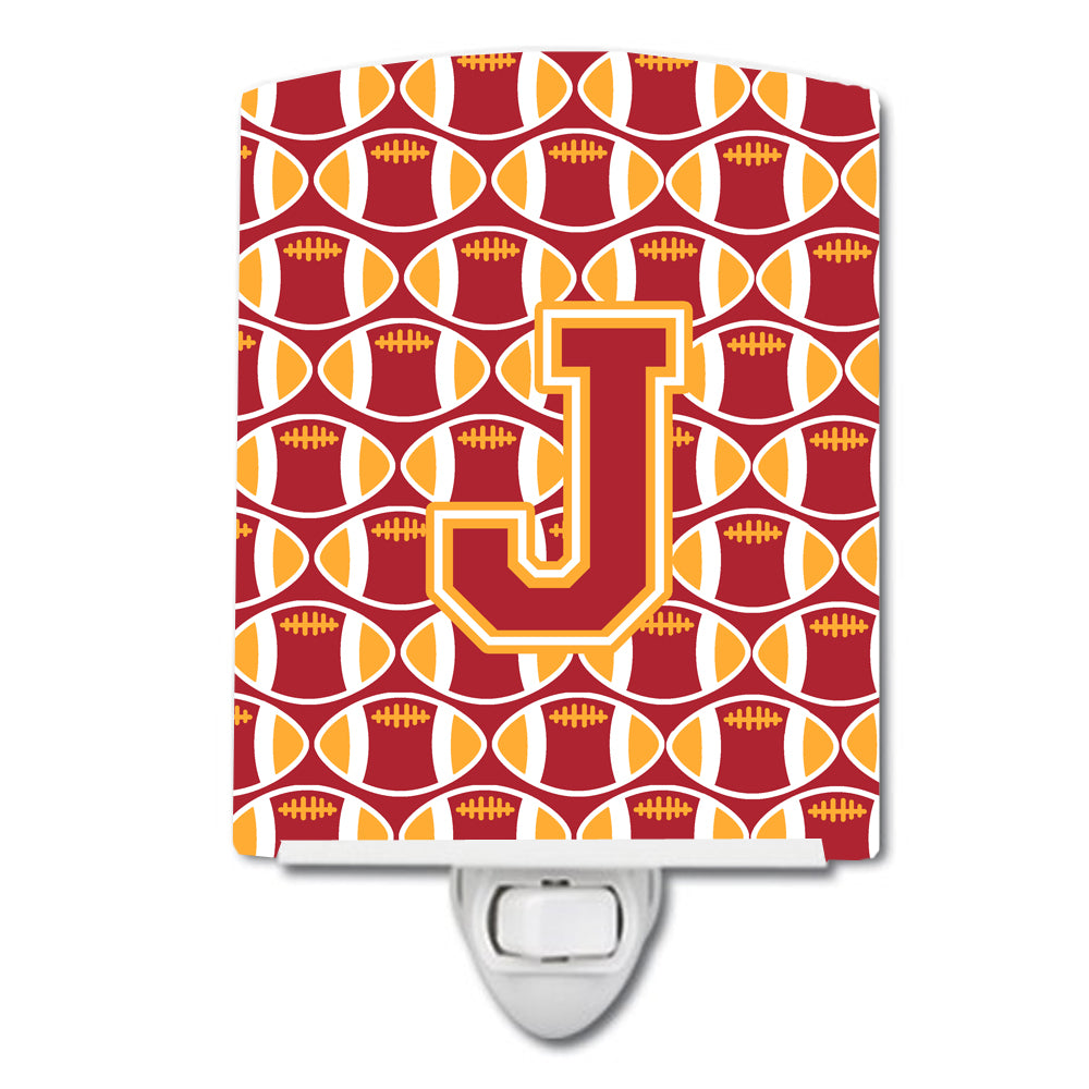 Letter J Football Cardinal and Gold Ceramic Night Light CJ1070-JCNL by Caroline's Treasures