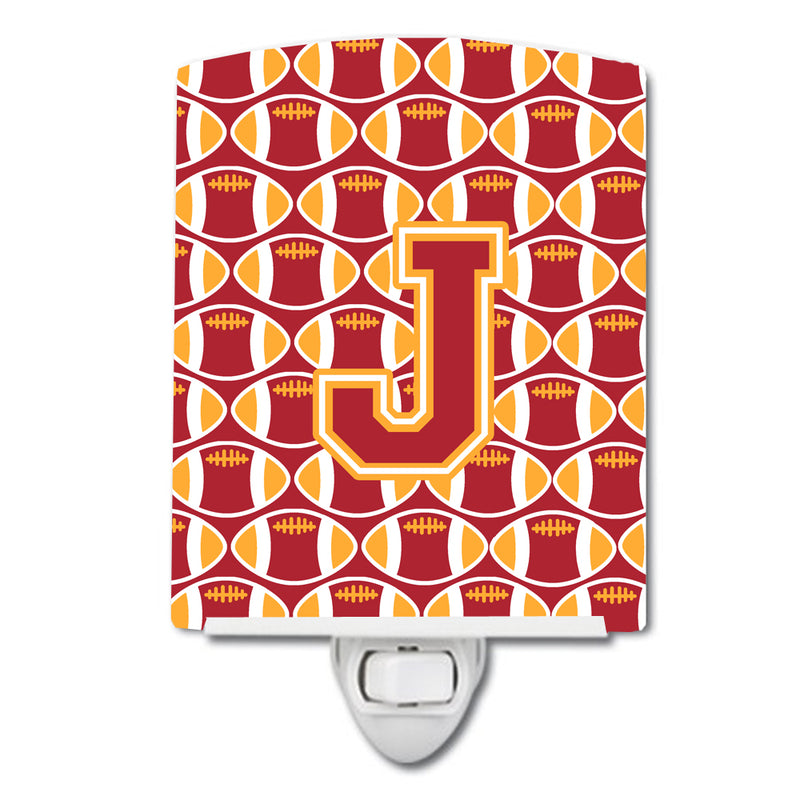 Buy this Letter J Football Cardinal and Gold Ceramic Night Light CJ1070-JCNL