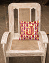 Letter J Football Cardinal and Gold Fabric Decorative Pillow CJ1070-JPW1414