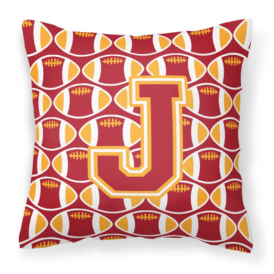 Buy this Letter J Football Cardinal and Gold Fabric Decorative Pillow CJ1070-JPW1414