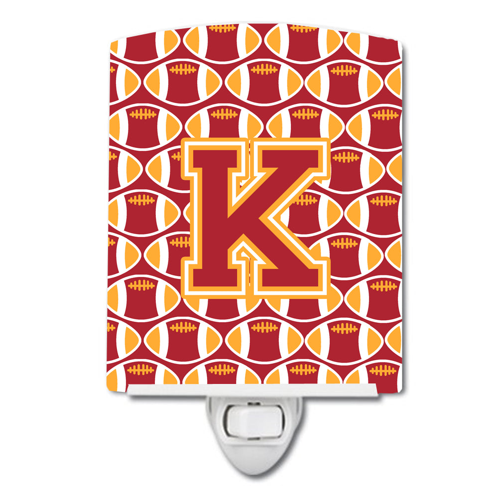 Buy this Letter K Football Cardinal and Gold Ceramic Night Light CJ1070-KCNL